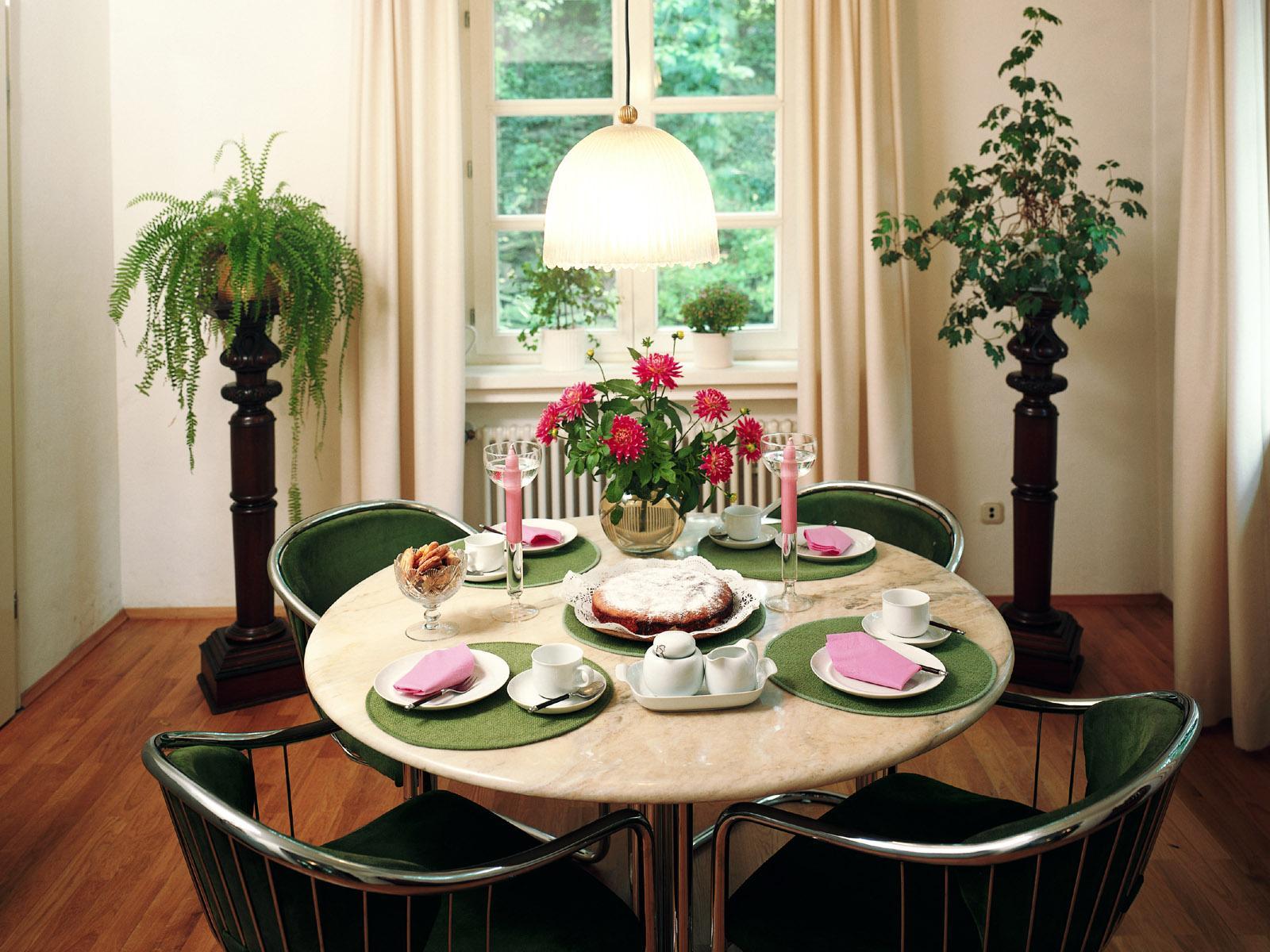 Живые цветы в интерьере кухни фото